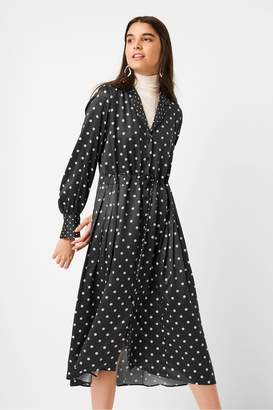 French Connection Maudie Drape Polka Dot Midi Shirt Dress