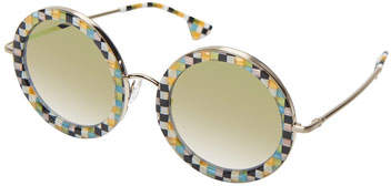 Alice + Olivia Beverly Round Printed Sunglasses