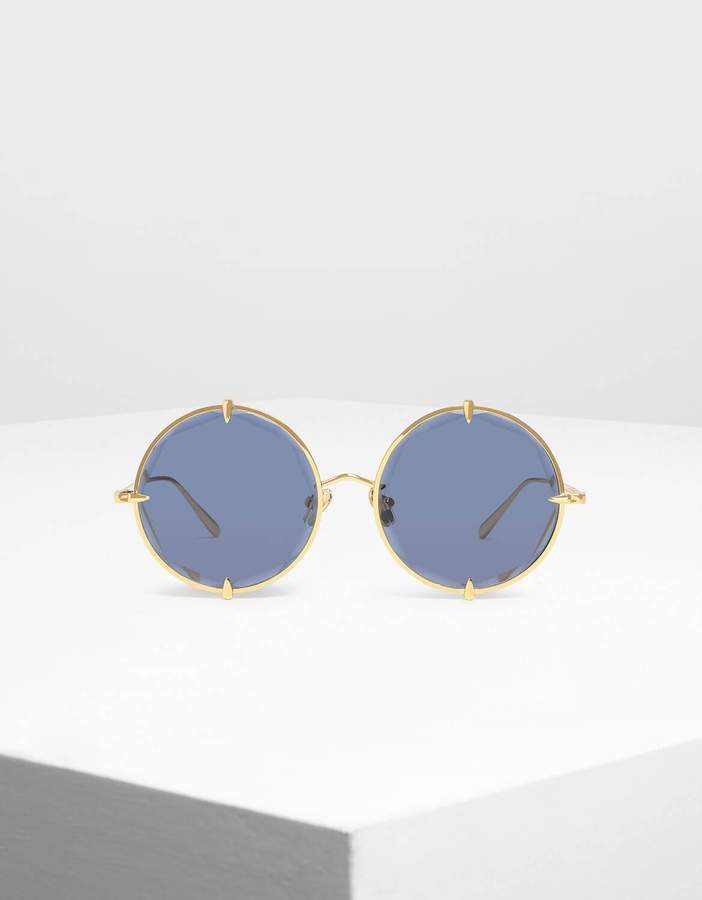Charles & Keith Round Wire Frame Skinny Sunglasses
