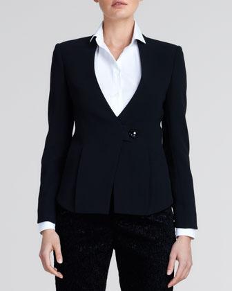 Giorgio Armani One-Button Wool Jacket, Black