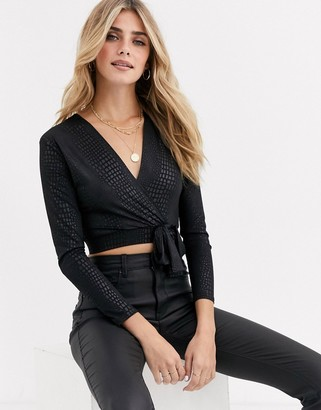 Love embossed snake wrap top