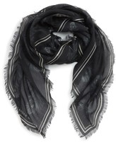 Alexander McQueen Men's Peacock Feather Skull Scarf