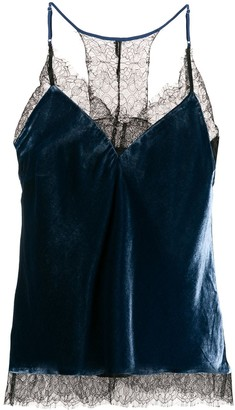 Gold Hawk lace-trim camisole top