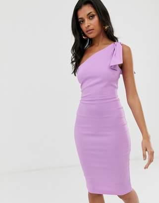 Vesper one shoulder bodycon midi dress-Purple