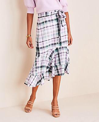 Ann Taylor Petite Plaid Double Flounce Skirt