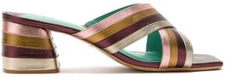 Blue Bird Shoes leather metallic Sunset mules