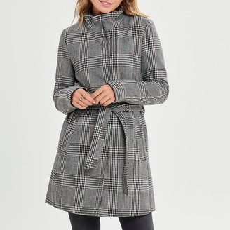 Only Belted Checked Coat with High Neck