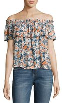 Current/Elliott Off-The-Shoulder Ruffle Top, Multicolor