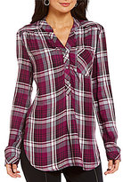 Intro Plaid Print Rayon Popover One-Pocket Tunic
