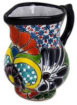 Colorful Talavera Style Mexican Majolica 30 oz Cream Pitcher, 'Guanajuato Imperial'