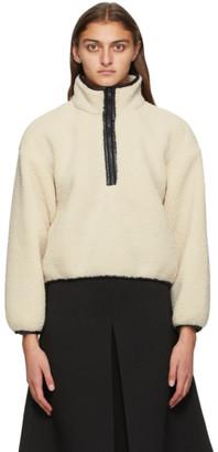 Tibi Off-White Cozy Fleece Zip-Up Anorak