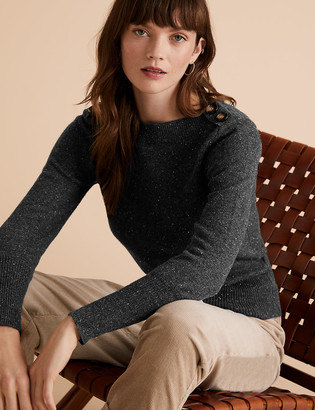 Marks and Spencer Cotton Boat Neck Long Sleeve Jumper