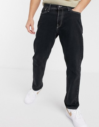 Jack and Jones Intelligence loose fit contrast stitch jeans in black