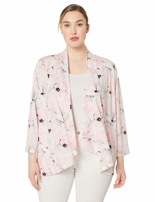 Kasper Women's Plus Size Long Sleeve HIGH Low Drape Front Bouquet Printed Cardigan
