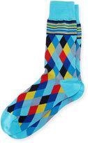 Bugatchi Argyle-Knit Cotton-Blend Socks, Sky