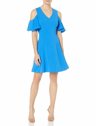 Lark & Ro Amazon Brand Women's Short Sleeve Cold Shoulder A-Line Dress