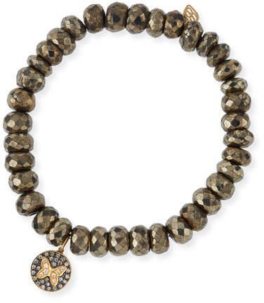 Sydney Evan Champagne Pyrite Beaded Bracelet with Diamond Butterfly Medallion Charm