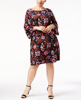Sangria Plus Size Printed Bell-Sleeve Dress