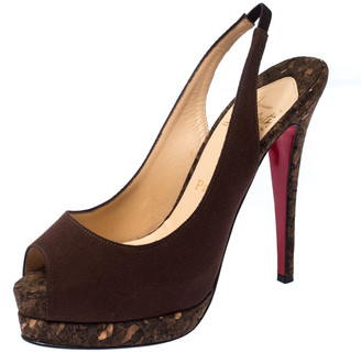 Christian Louboutin Brown Canvas Slingback Peep Toe Cork Platform Sandals Size 38.5