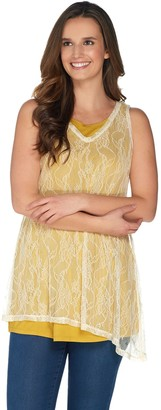 Logo By Lori Goldstein LOGO Layers by Lori Goldstein V-Neck Lace Tank Top with Angled Hemline