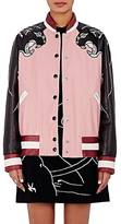 Valentino Women's Panther-Embroidered Calfskin Bomber Jacket