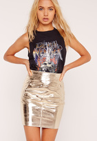 Missguided Faux Leather Mini Skirt Gold