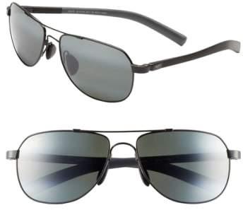Maui Jim 'Maui Flex - PolarizedPlus(R)2' 56mm Aviator Sunglasses