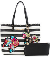 Betsey Johnson Many Blooms Flower-Appliqued Striped Studded Scalloped Tote