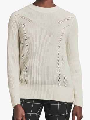 Pure Collection Cashmere Ribbed Jumper, Soft White
