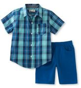 Kids Headquarters Baby Boys Two-Piece Plaid Shirt and Shorts Set