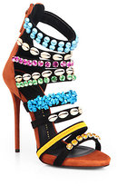 Giuseppe Zanotti Strappy Embellished Suede Sandal Ankle Boots