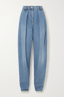 Magda Butrym Pleated High-rise Tapered Jeans - Light blue