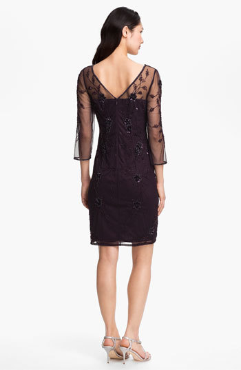 Patra Embellished Illusion Yoke Mesh Dress
