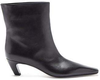 KHAITE Arizona Square-toe Leather Ankle Boots - Black