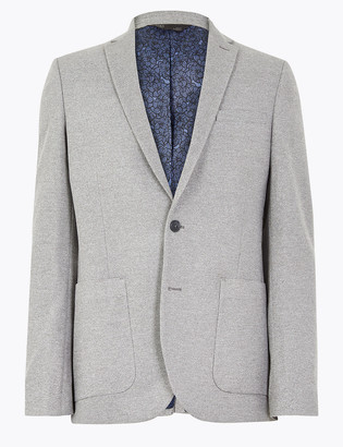 Marks and Spencer Big & Tall Grey Slim Fit Textured Jacket with Stretch