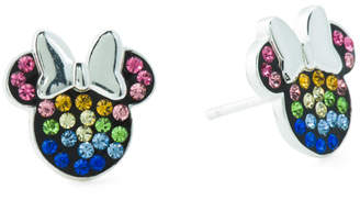 Sterling Silver Minnie Mouse Crystal Stud Earrings