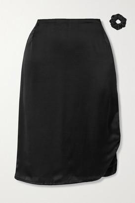 MAISONCLÉO Laurane Ruched Silk-satin Midi Skirt - Black