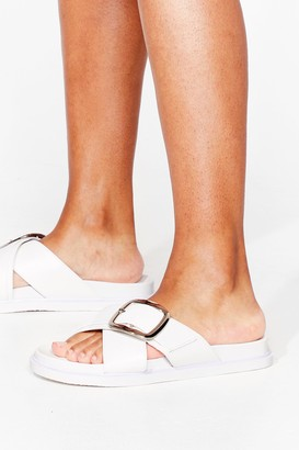 Nasty Gal Womens Put It to Footbed Faux Leather Buckle Sandals - White