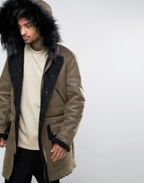 Asos Faux Shearling Parka with Hood in Khaki