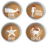 Mud Pie Tan Sea Mason Jar 4-Piece Coaster Set