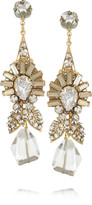 Swarovski Bijoux Heart Deco Miel 24-karat gold-plated crystal earrings