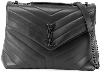 Saint Laurent Loulou Medium Matelasse Calfskin Flap-Top Shoulder Bag, Matte Black Hardware