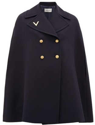 Valentino Double-breasted Wool Cape - Womens - Navy