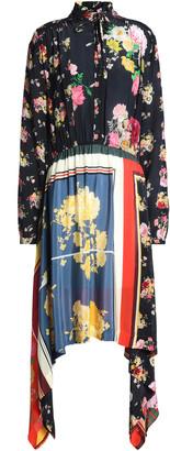 Preen Line Draped Printed Crepe De Chine Dress