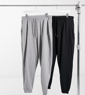 ASOS DESIGN Curve basic jogger with tie 2 pack in black and grey