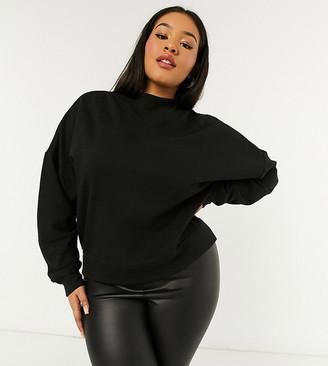 ASOS DESIGN Curve sweatshirt with high neck in rib in black