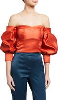 Flor Et. Al Flor Et.Al Desire Duchess Satin Off-the-Shoulder Balloon-Sleeve Crop Top