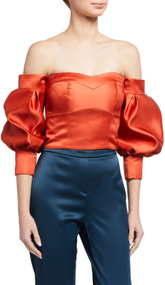 Flor Et. Al Desire Duchess Satin Off-the-Shoulder Balloon-Sleeve Crop Top