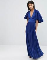 Asos Pleated Ruffle Cape Tiered Maxi Dress