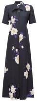 Raey Zip-front Floral-print Silk Dress - Womens - Navy Print